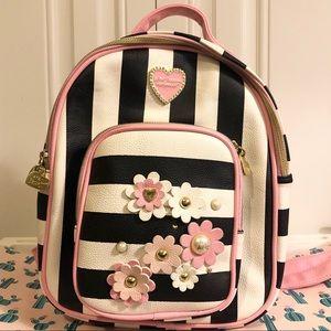 Betsey Johnson Mini Striped Convertible Backpack